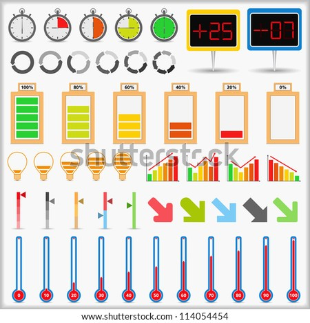 Set of different indicators, vector eps10 illustration