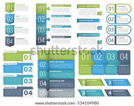 Set of different infographic elements with numbers, line icons and place for your text, can be used as workflow, process infographics, steps or options, vector eps10 illustration