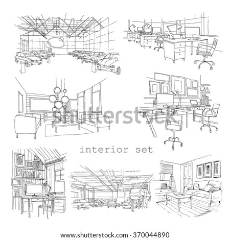 Set of different interior hand drawn sketch, vector illustration - stock vector