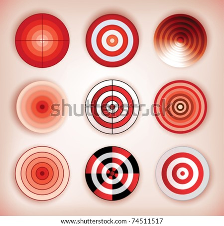set of different isolated dartboards - stock vector