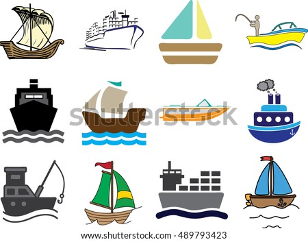 set different kind boats ships stock vector royalty free 489793423