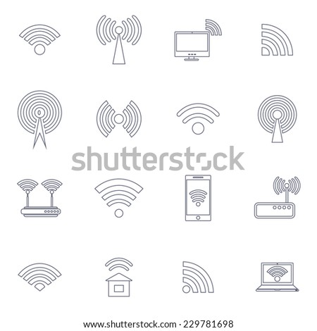 Set of different line vector wireless and wifi icons for remote access and communication via radio waves. Vector illustration. - stock vector