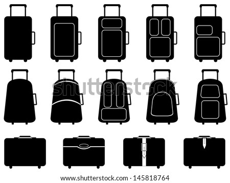 Set of different luggage illustrated on white - stock vector