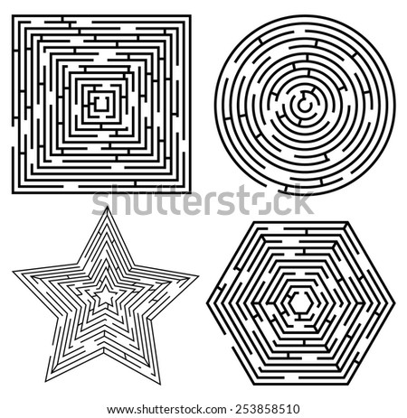Set of different maze shapes. Vector eps10. - stock vector