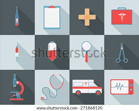 Set of different Medical elements as Thermometer, Prescription Pad, Band-Aid, Briefcase and Ambulance etc for Health Care concept. - stock vector