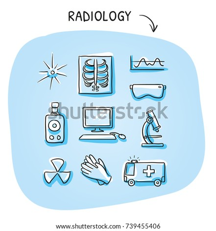 Set Different Medical Radiation Xray Laboratory Stock Vector