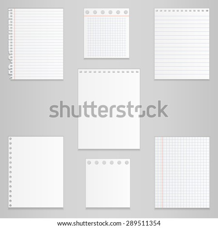 Set of different notebook paper, vector - stock vector
