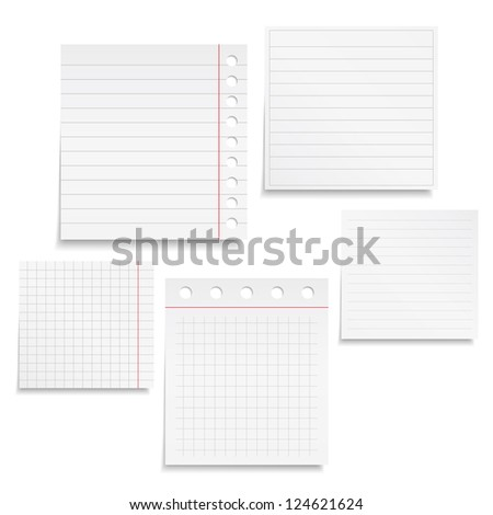 Set of different notebook paper, vector eps10 illustration - stock vector