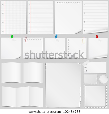 Set of different paper, vector eps10 illustration - stock vector
