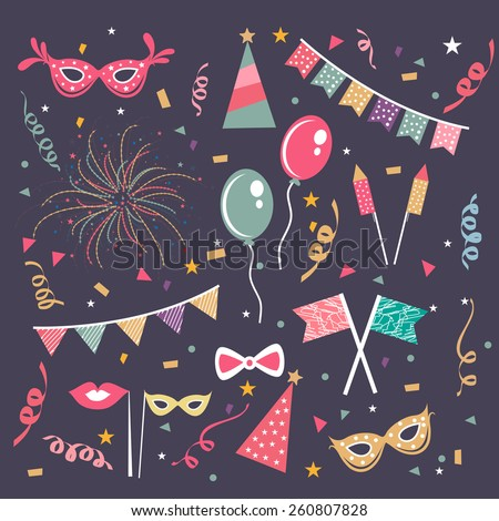 Set of different party decoration elements on purple background. - stock vector