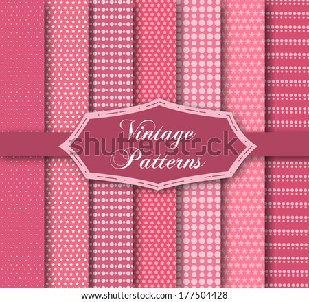 Set of 7 different patterns - stock vector