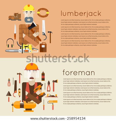 Set of different people professions characters with tools icons. Foreman, lumberjack. Set of vector illustrations in modern flat style.  - stock vector
