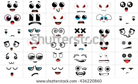 Set of 36 different pieces of doddle emotions to create characters. Emotions for design.  Anger and joy. Surprised and hurt. Indifference and shock. Laughter and tears. Emotions handmade