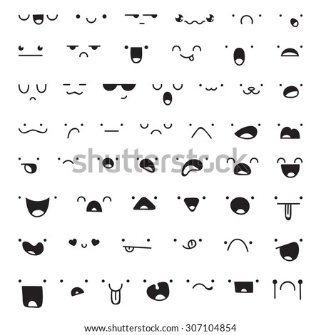 Set of 52 different pieces of doddle emotions to create characters. Emotions for design. Anime. Anger and joy. Surprised and hurt. Indifference and shock. Laughter and tears. Emotions handmade - stock vector