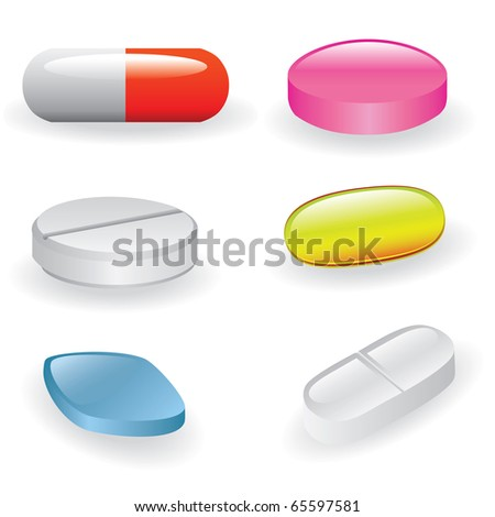 set of different pills and capsules - stock vector