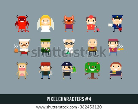 Set of different pixel art characters