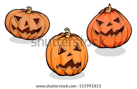 Set of different pumpkins,Halloween icons