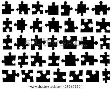Set of different puzzle pieces isolated on white - stock vector