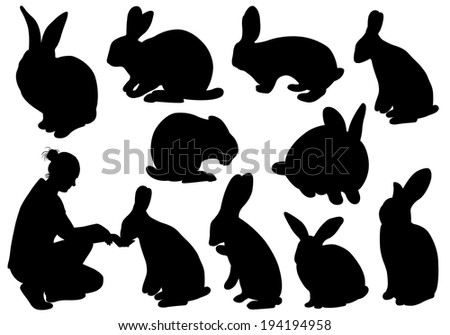 Set of different rabbits - stock vector