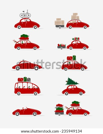 Set of different red cars with luggage for your design, vector illustration - stock vector