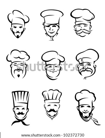 Set of different restaurant chefs in uniform for menu or another  design, also a logo idea. Jpeg version also available in gallery - stock vector