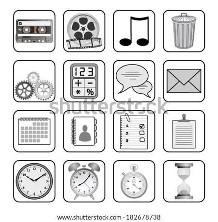 Set of different retro icons, signs, symbols, mobile apps. Vector art image illustration, eps10, isolated - stock vector