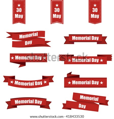 Set  of different ribbons for memorial day america. Vector illustration