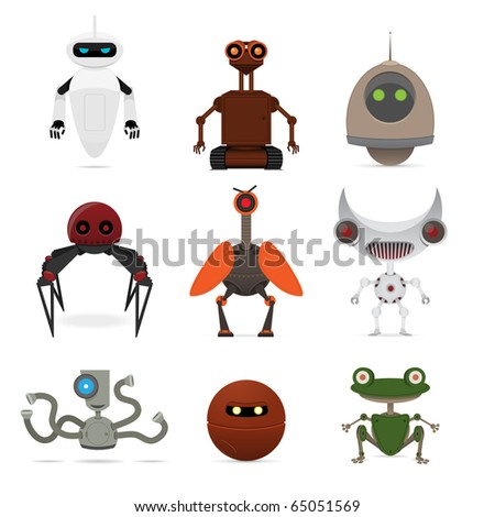 Set of different robots. Vector illustration. - stock vector