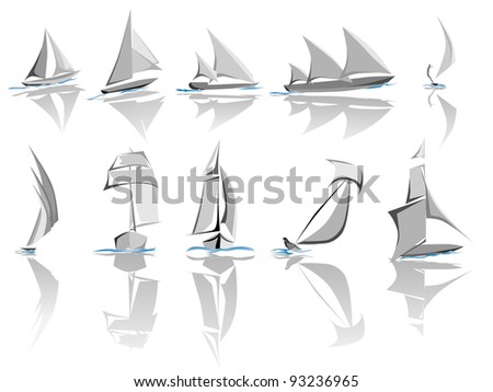 Set of different sailing ships icon (simple vector). - stock vector