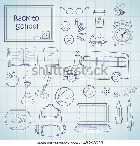 Set of different school items.