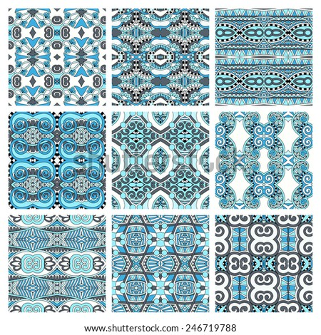 set of different seamless colored vintage geometric pattern, texture for wallpaper, web page background, fabric and wrapping paper design, vector illustration - stock vector