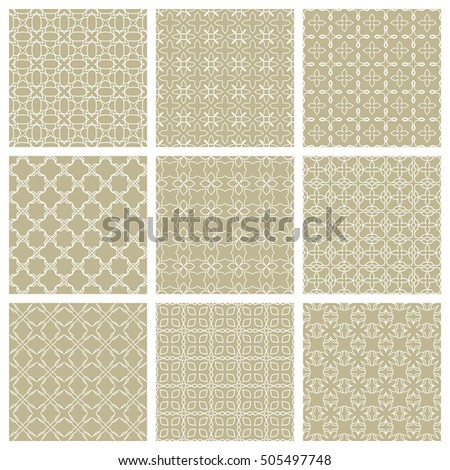 Set of different Seamless Geometric Line Patterns. Contemporary graphic design. Endless linear backgrounds collection, seamless lace texture for banners, flyers, invitation cards, pattern fills