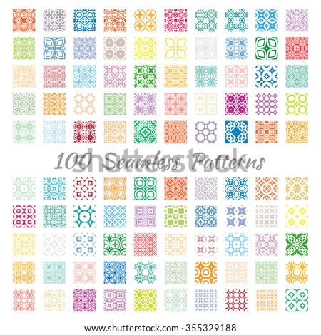 Set of 100 different seamless geometric square patterns with repeating texture. Colorful backgrounds collection, isolated design elements for cards, invitations, banners, fabric or paper print