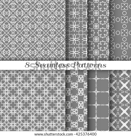 Set of 8 different Seamless line patterns. Contemporary graphic design. Endless texture for wallpaper, pattern fills, web page background, surface textures. Set of monochrome geometric ornaments.