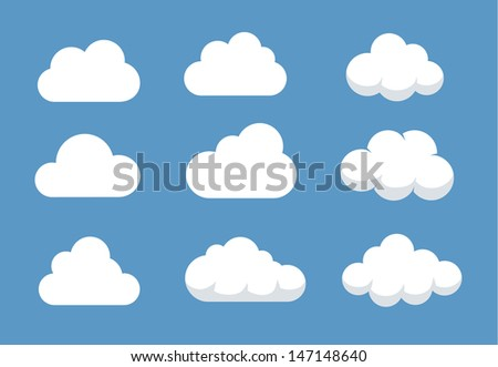 Set of different shaped clouds.