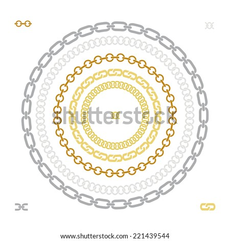 Set of 5 different shapes chains brushes. Gold, metal, steel, iron, bronze, silver. Circles. Color. No outline.  - stock vector