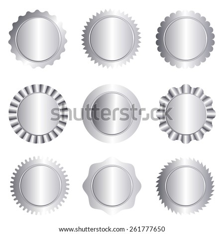 Set of different silver approval seal , stamp, badge, and rosette shapes isolated on white  - stock vector