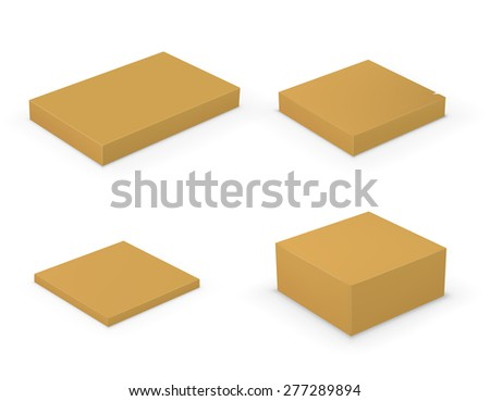 Set of different sizes yellow cardboard boxes isolated on white. Vector illustration - stock vector