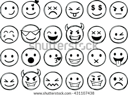 Set of different smileys vector. Vector illustration