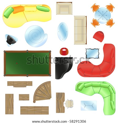 Set of different sofas,armchairs,chairs, different types of tables.A piano, a billiard table, a case, a chest of drawers, a wooden ladder,desk - stock vector