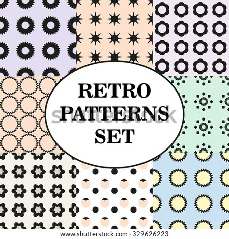 Set of different soft color palette seamless retro patterns.