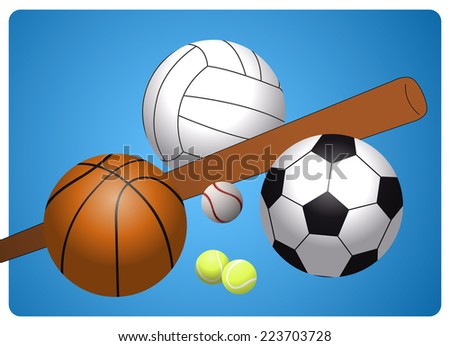 set of different sports equipment, soccer ball, basketball, volleyball, tennis balls and baseball with bat on a blue background - stock vector