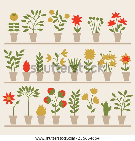 Set of different spring flowers in pots. Vector Illustration.