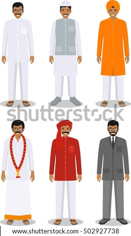 Set of different standing indian men in the traditional clothing isolated on white background in flat style. Differences people in the east dress. Vector illustration.