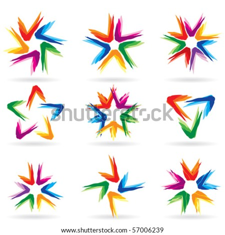 Set of different stars icons for your design. White releases #11. - stock vector
