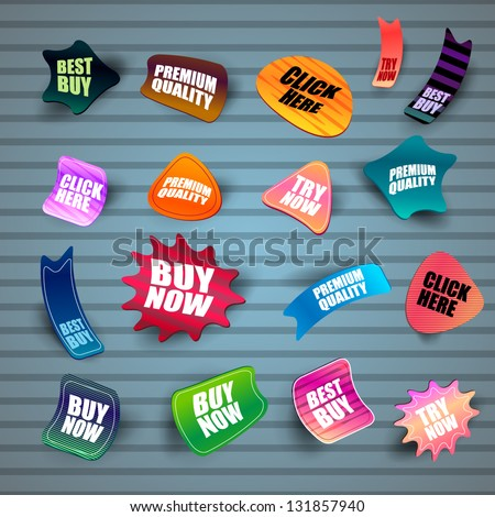 Set Of Different Stickers On Blue Background - Vector Illustration, Graphic Design Editable For Your Design. Logo Symbols - stock vector