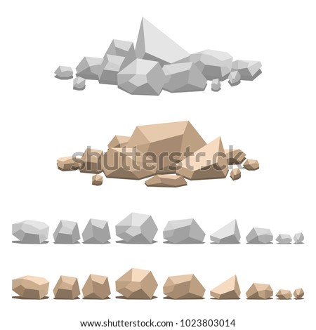 Set of different stones, vector illustration