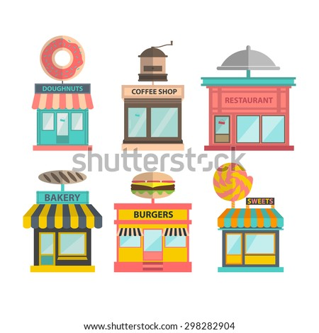 set of different store buildings. vector shop illustration. doughnut, coffee shop cafe, restaurant, bakery, burgers and candy shop icons - stock vector