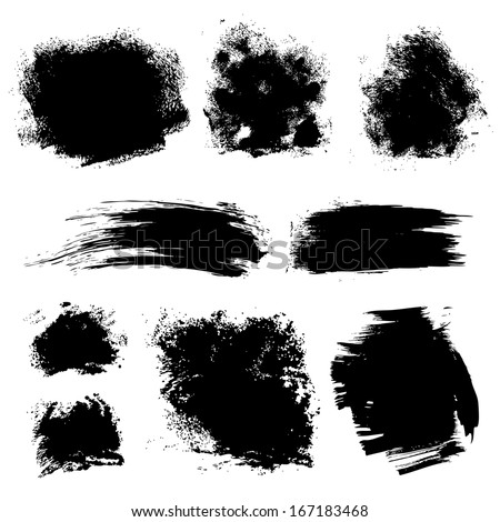 Set of different strokes thick paint textured brush on white background 1. Vector draw - stock vector