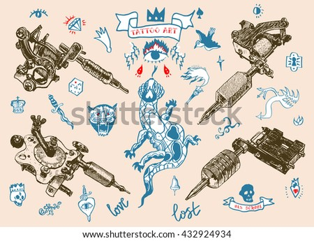 Set of different style realistic tattoo machines. Big vector set of hand drawn old school tattoo.  - stock vector